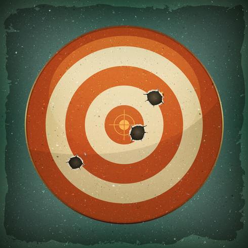 Alvo de dardo com tiro de balas vetor