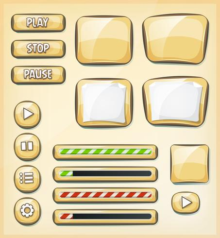 Cartoon Buttons, Icons And Elements For Game Ui