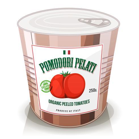 Tomates orgánicos pelados en lata vector