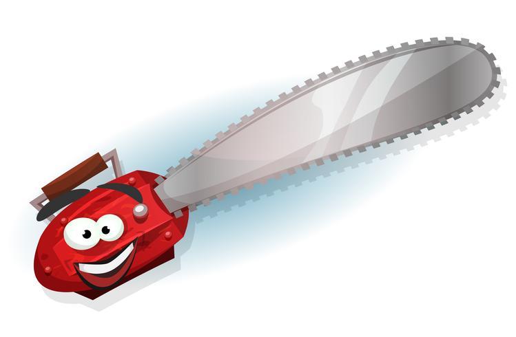 personaggio di motosega di cartone animato vettore