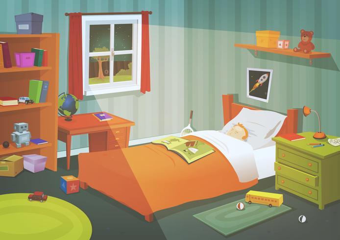 Kid Or Teenager Bedroom In The Moonlight