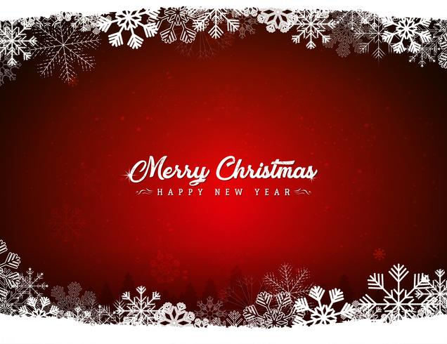Röd god jul bakgrund med snöflingor
