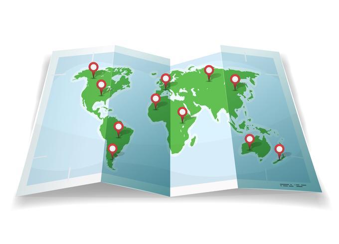 Carte du monde de voyage avec épingles GPS vecteur