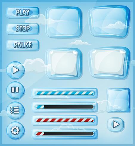 Conjunto de iconos de cristal transparente para juego de interfaz de usuario
