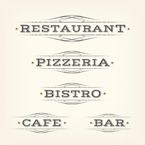 Retro ristorante, pizzeria e bar banner vettore