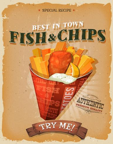 Grunge en Vintage Fish and Chips-Affiche