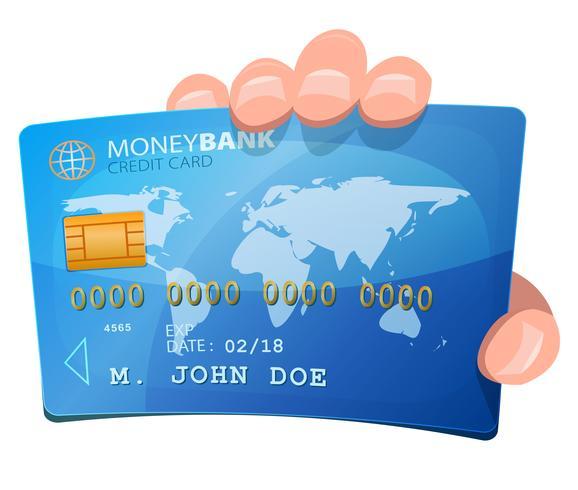 Hand, die Kreditkarte hält