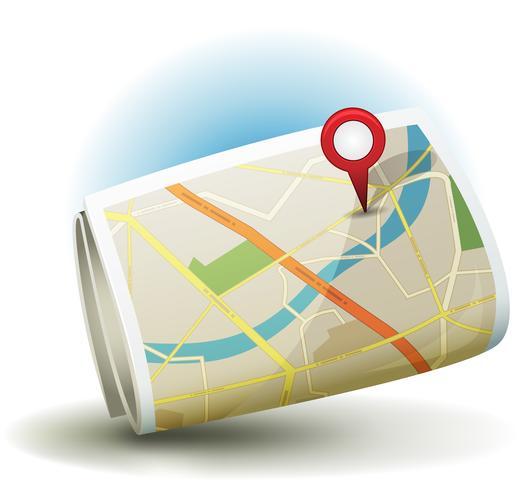Icono de mapa de la ciudad de dibujos animados con GPS Pin vector