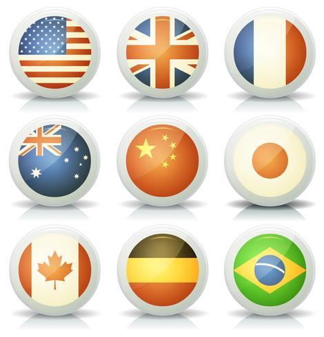 Conjunto de iconos de banderas brillantes vector