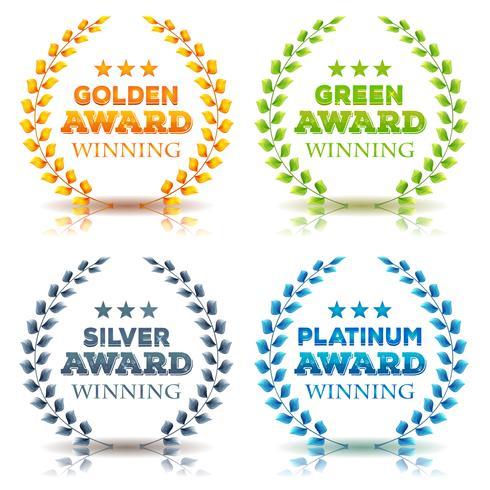 Prêmios vencedores e conjunto de folhas de louro