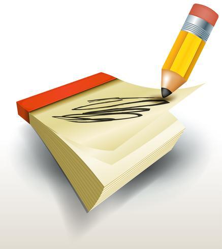 Caneta de desenho em notas de calendário vetor