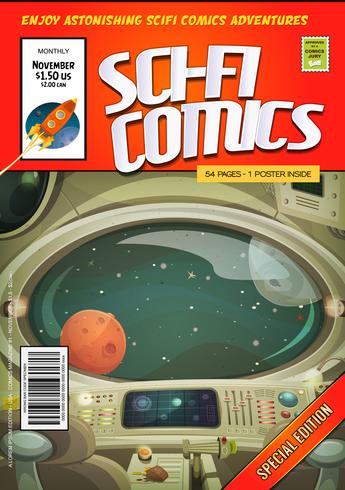 komische scifi boek omslagsjabloon