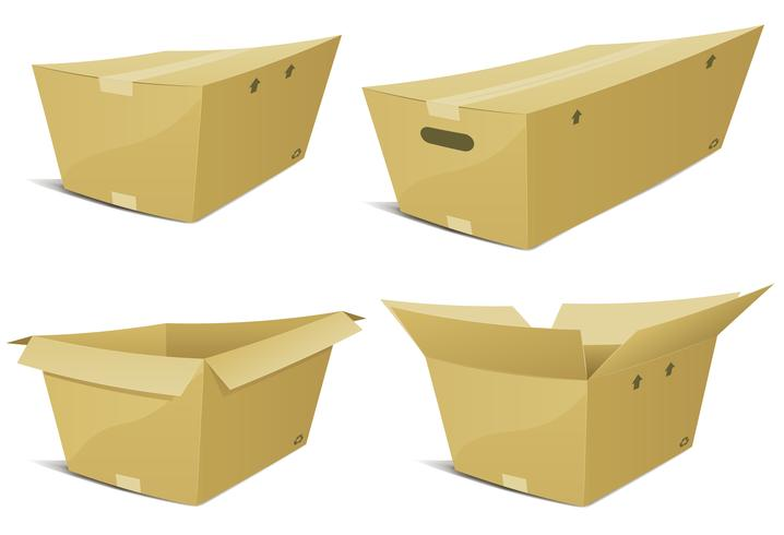 Cartoon Cardboard Box Set vector