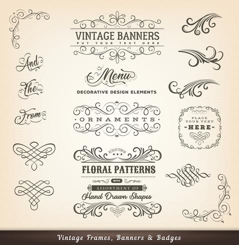 Vintage kalligraphische Designfahnen