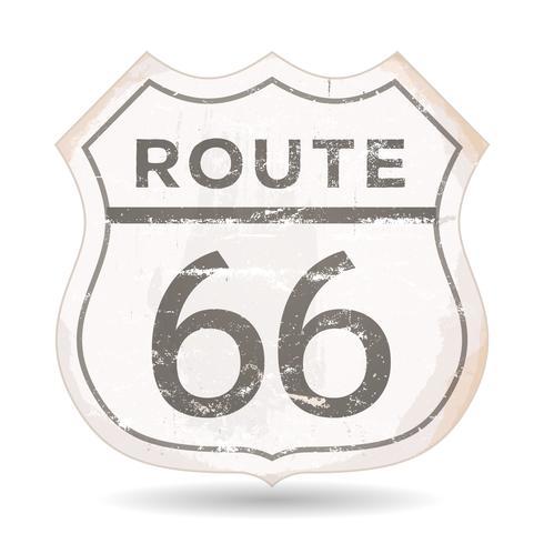 Icono de la ruta 66 con texturas grunge y óxido