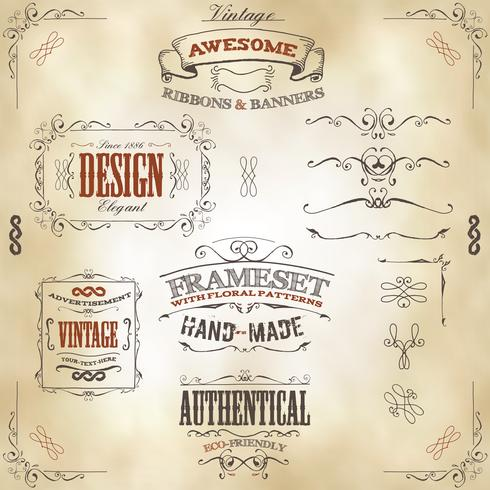 Hand Drawn Vintage Banners And Ribbons vector