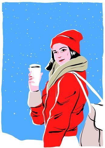 Model Portrait In Winter Outdoors
