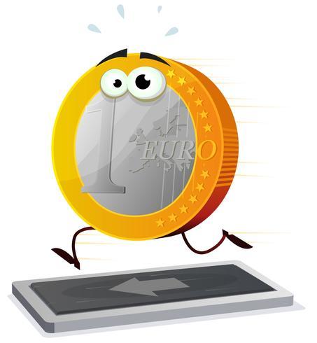 Euro di cartone animato in esecuzione su un tapis roulant