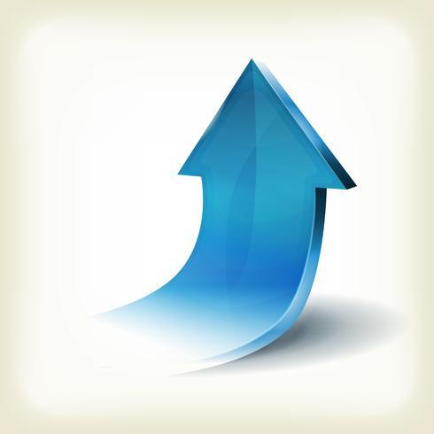 Blauer Pfeil steigt für Business Infografiken