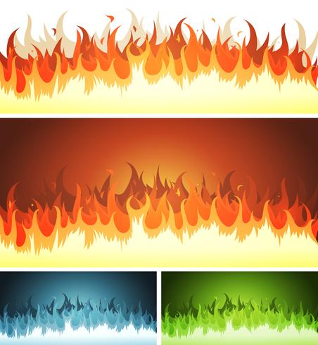 Blaze, Burning Fire And Flames Set vector