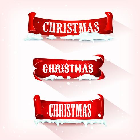 Christmas Parchment Scroll With Snow vector