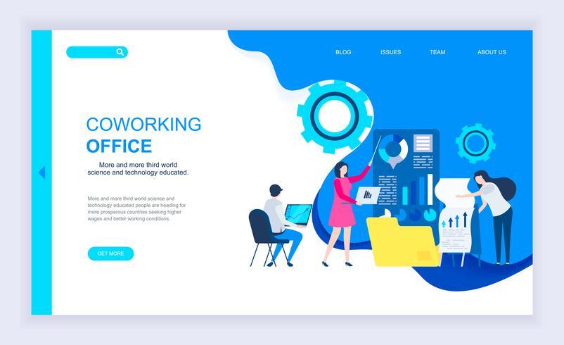 Banner de web de oficina de coworking