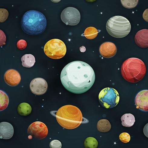 Nahtlose Planeten und Asteroidenhintergrund vektor