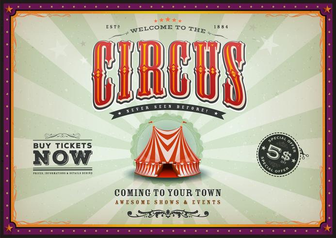 Vintage Horizontal Circus Poster With Sunbeams