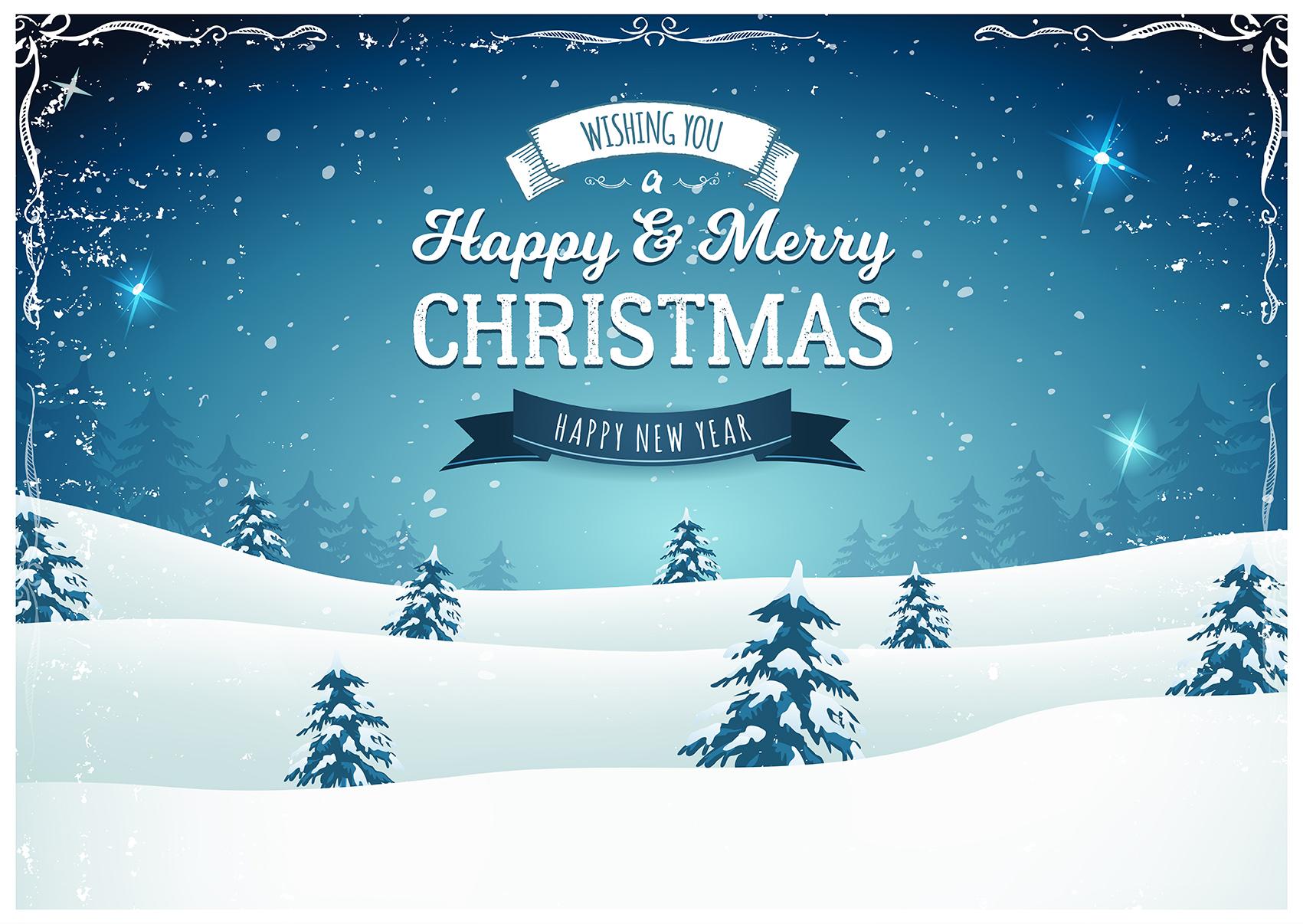 Vintage Christmas Landscape Background - Download Free Vector Art ...