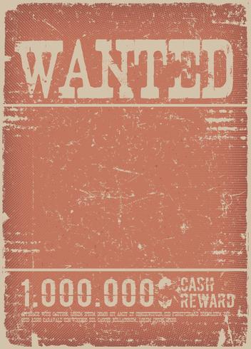 Poster ricercato su sfondo rosso grunge