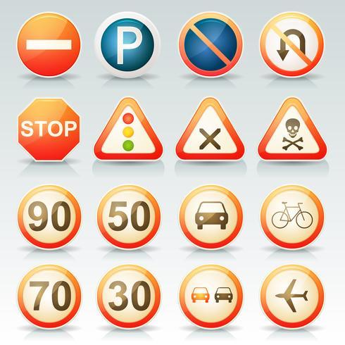 Señales de tráfico conjunto de iconos brillantes vector