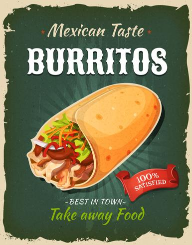 Cartel retro de los burritos mexicanos de los alimentos de preparación rápida