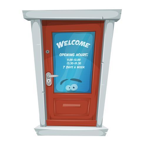 Shop Entrance Door With Opening Hours vector