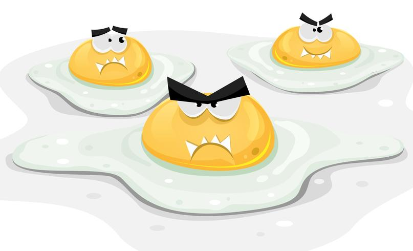 Ovos de frango frito com raiva vetor