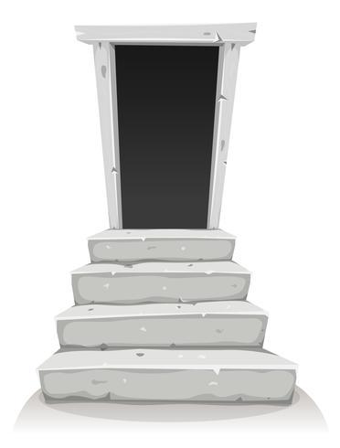 Lege deur op trap vector