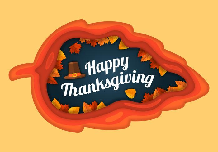Thanksgiving Illustration in Paper Style vector