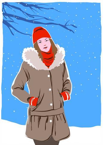 Portrait modèle en hiver à l'extérieur