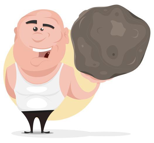 Hombre fuerte sosteniendo gran roca vector