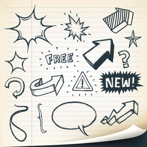 Arrows, Signs And Sketched Elements Set vector