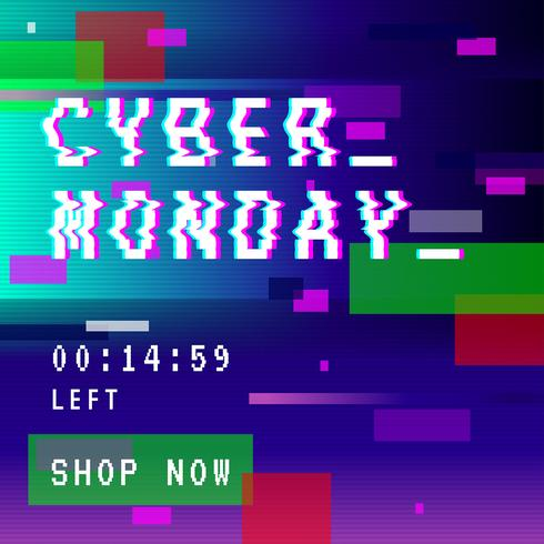 Cyber Monday Social Media Post Glitch vector
