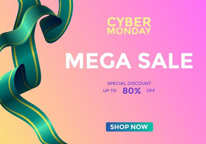 Cyber Monday Mega Sale Social Media Post Vector