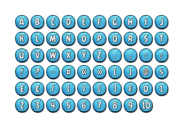Alphabet Font Set On Glossy Buttons For Ui Game