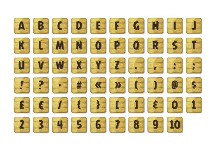 Conjunto de fuentes del alfabeto en signos de madera