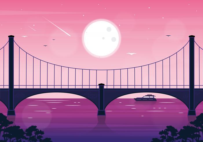 Vetorial, paisagem, ponte, ilustração