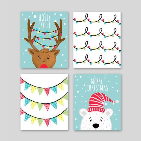 Cartes de Noël mignonnes avec des personnages vecteur