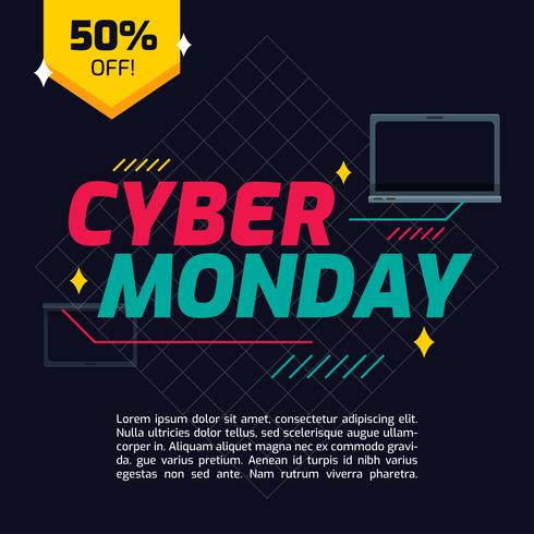 Vector de lunes cibernético