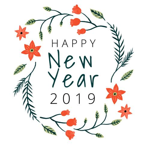 cute happy new year background with flowers and leaves
