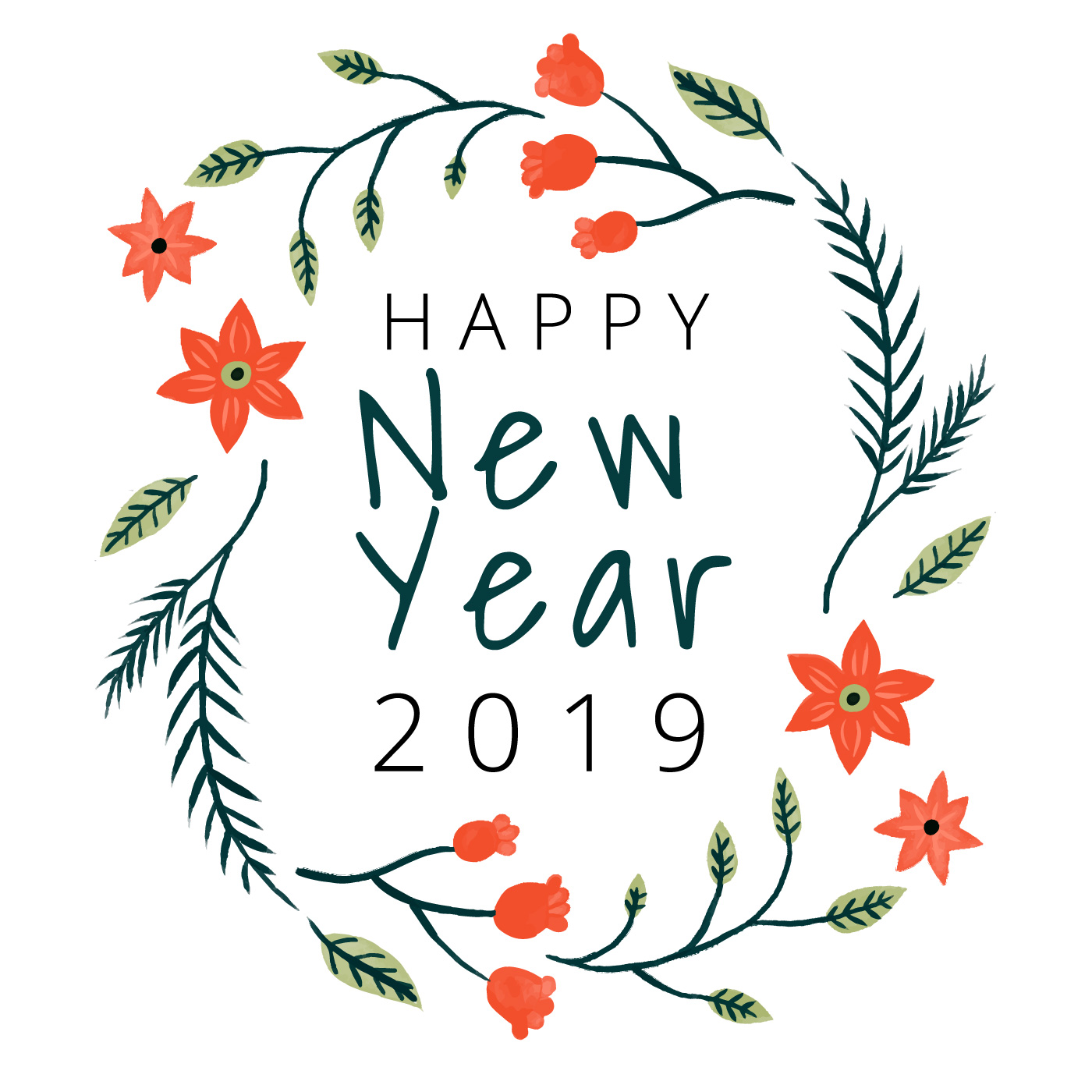 Cute Happy New Year Background With Flowers And Leaves ...