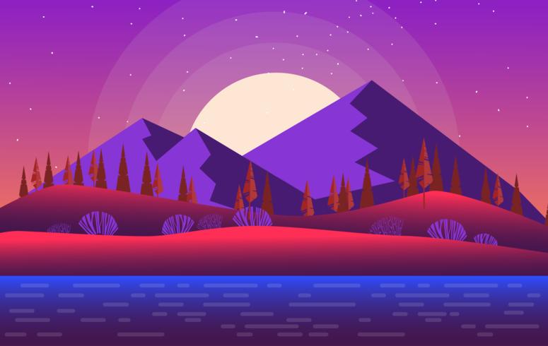 Vektor-lila Landschaftsillustration