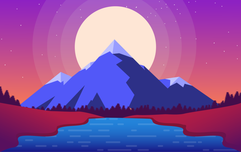 Vector Purple Landscape Illustration